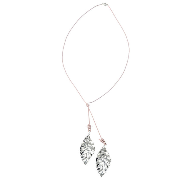 Sassy Silver Tone Leaf Necklace