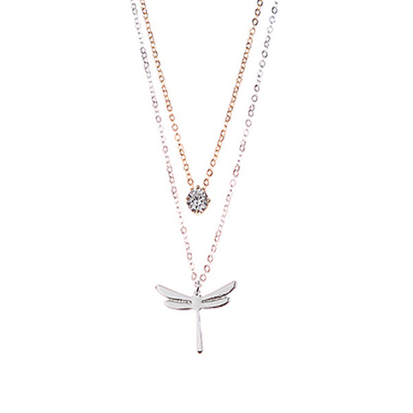 Dragonfly and Crystal Dual Set Necklace