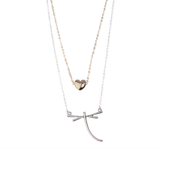 Dragonfly and Heart Dual Set Necklace