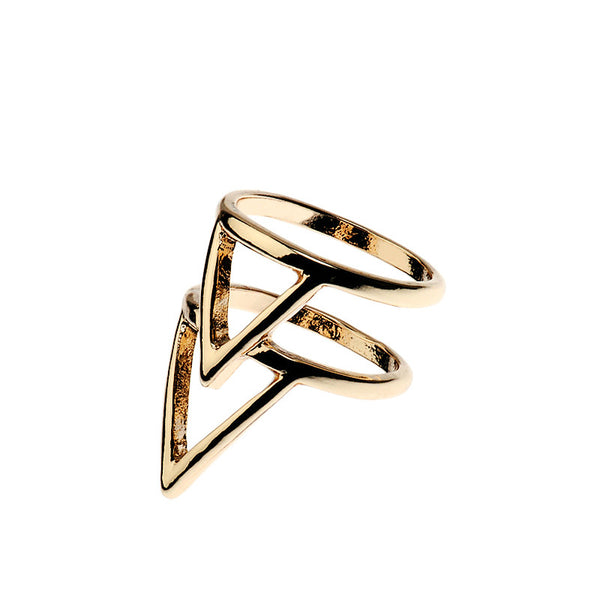 Double Triangle Gold Tone Ring