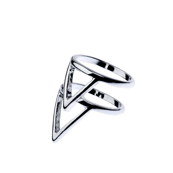 Double Triangle Silver Tone Ring