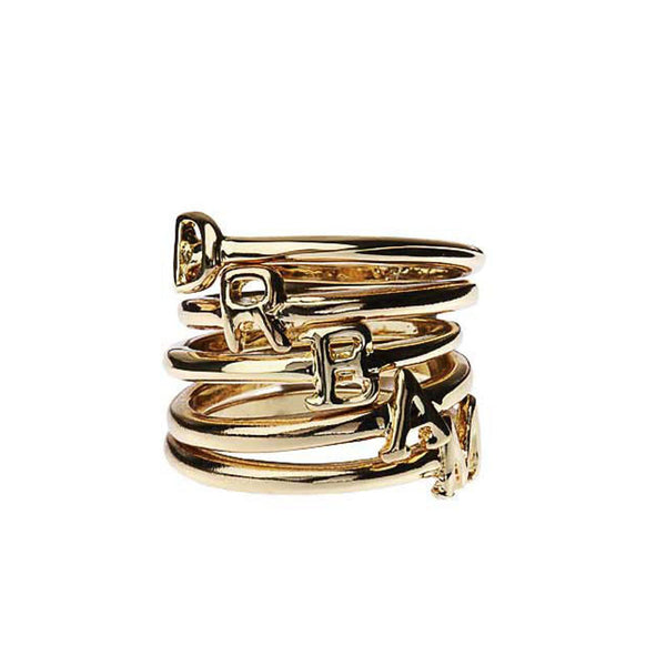 """D-R-E-A-M"" Set of 5 Rings Gold Tone"