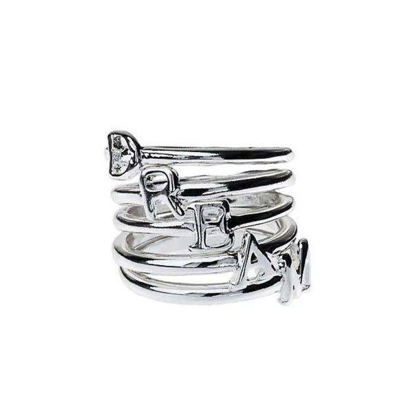 """D-R-E-A-M"" Set of 5 Rings Silver Tone"