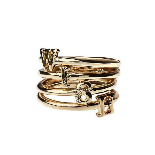 """W-I-S-H"" Set of 4 Rings Gold Tone"
