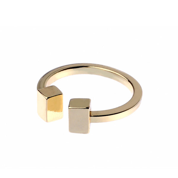 Cube Feature Gold Tone Ring
