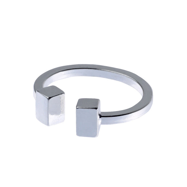 Cube Feature Silver Tone Ring