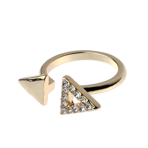 Crystal Triangle Gold Tone Ring