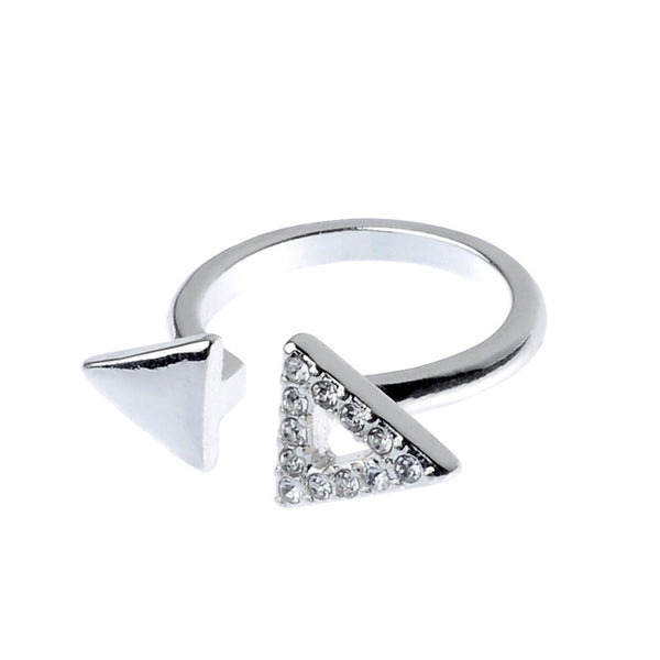 Crystal Triangle Siver Tone Ring