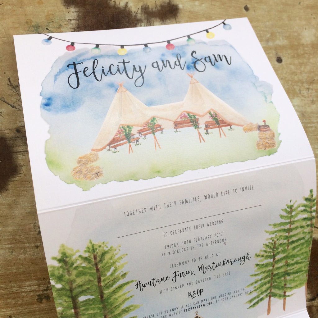 Festival Farm Inspired Wedding Invitation by Paint Press