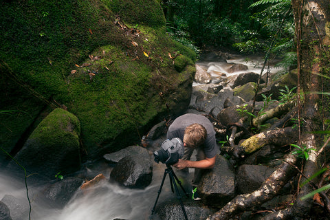 AquaTech all weather shield at a waterfall shoot