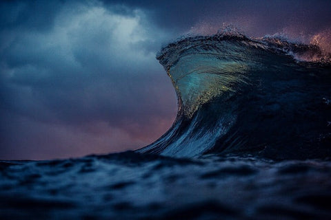 wave cresting during night time