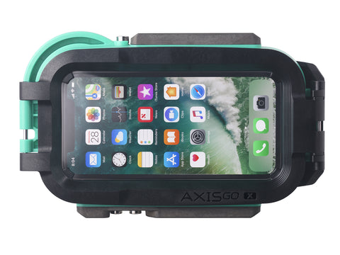 iPhone X water housing in sea-foam green