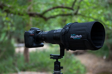 Camera on a tripod with an AquaTech soft cover
