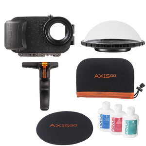 View of the AxisGO 11 Pro Max Over Under Kit including:  1 - Black AxisGo Water Housing, 1 - AxisGO Dome, 1 - Dome Cover, 1 - Novus Acrylic Polish, and 1 - AxisGO Protective Case.