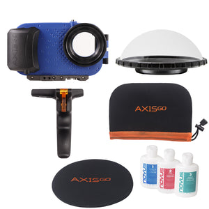 View of the AxisGO 11 Pro Max Over Under Kit including:  1 - Blue AxisGo Water Housing, 1 - AxisGO Dome, 1 - Dome Cover, 1 - Novus Acrylic Polish, and 1 - AxisGO Protective Case.
