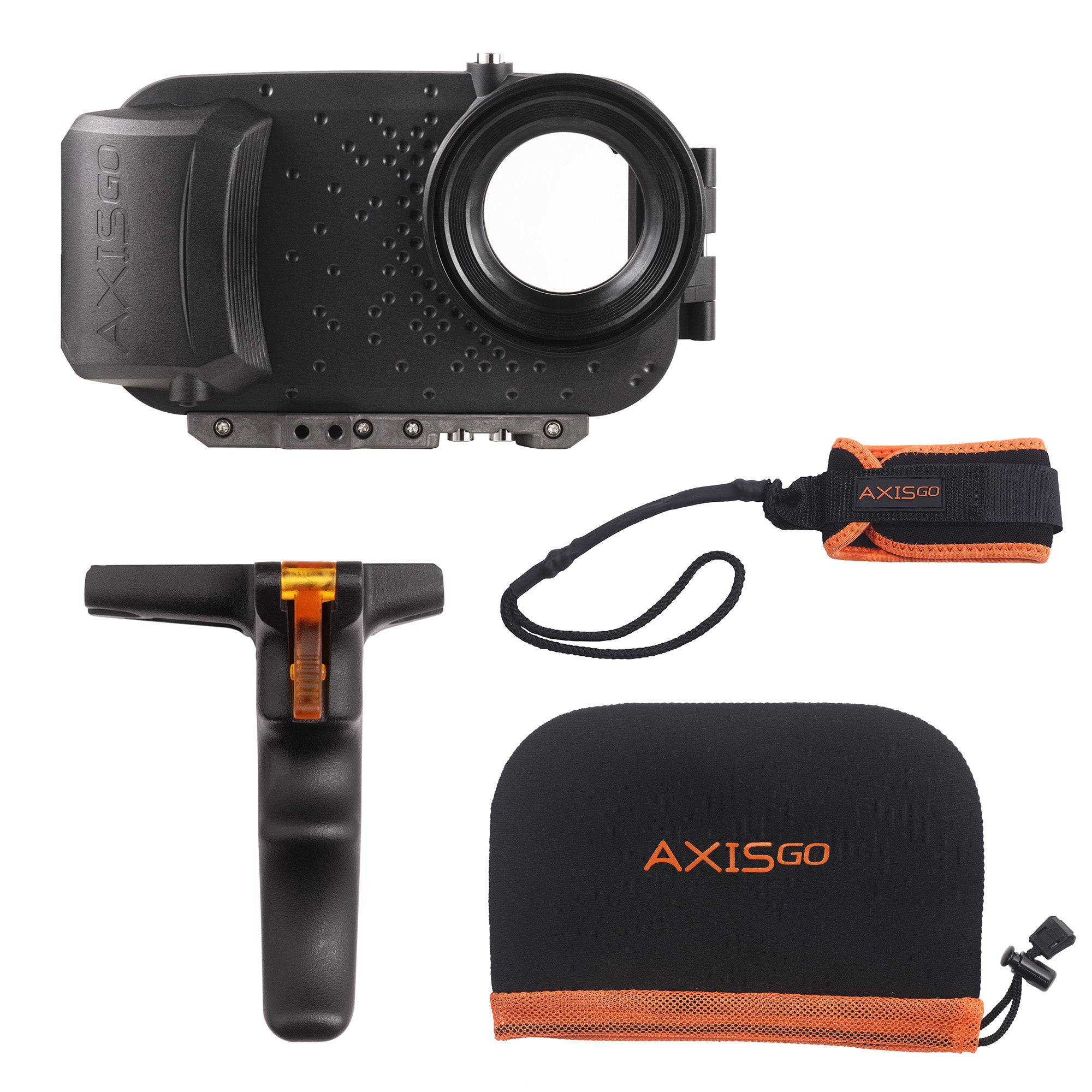 View of  the AxisGO 11 Pro  Action Kit including:  1 - Black AxisGo Water Housing, 1 - AxisGO Pistol Grip, 1 - AxisGO Sports Leash, and 1 - AxisGO Protective Case.