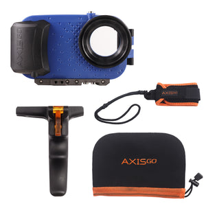 View of the AxisGO 11 Pro  Action Kit including:  1 - Blue AxisGo Water Housing, 1 - AxisGO Pistol Grip, 1 - AxisGO Sports Leash, and 1 - AxisGO Protective Case.
