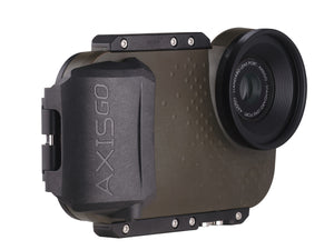 Underwater iphone housing angle view - AxisGO in Green