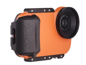 Underwater phone housing angle view - AxisGO in Orange