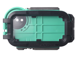 Rear view of AxisGO water housing in seafoam green