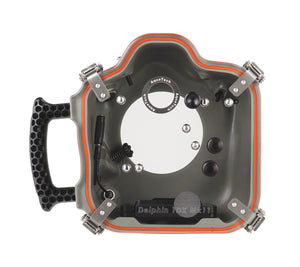 rear view of Canon camera water housing