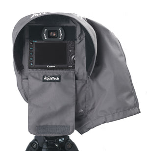 SSRC Large Camera Rain Cover with flaps open over a camera