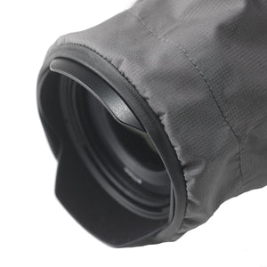 Close up of the SSCR MEDIUM - Camera Rain Cover covering a camera lens