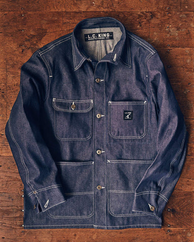LC King Chore Coat White Oak Indigo Denim