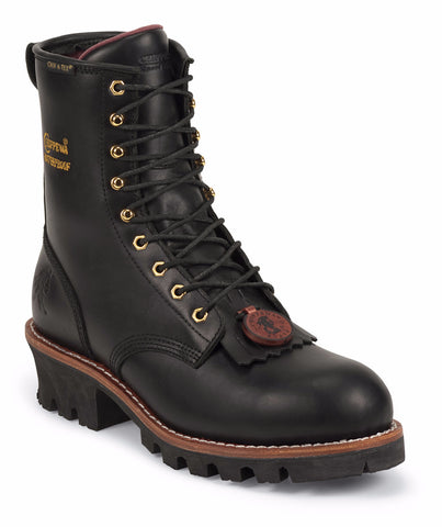 "Chippewa Women's 8"" Black Insulated Waterproof Steel Toe Logger Boots - Hilton's Tent City"