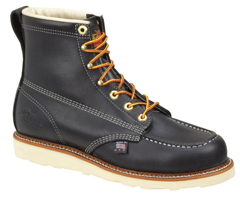 "Footwear - Thorogood 6"" Black Moc Toe Safety Toe Wedge Boot"