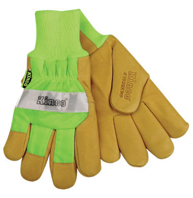 Gloves - Kinco Hi-Vis Lined Grain Pigskin Leather Palm Glove With Knit Wrist And Waterproof Insert