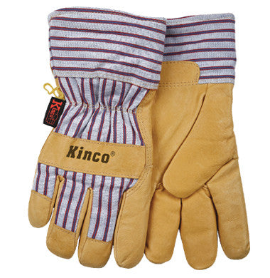 Gloves - Kinco Lined Grain Pigskin Leather Palm Gloves With Full Gauntlet