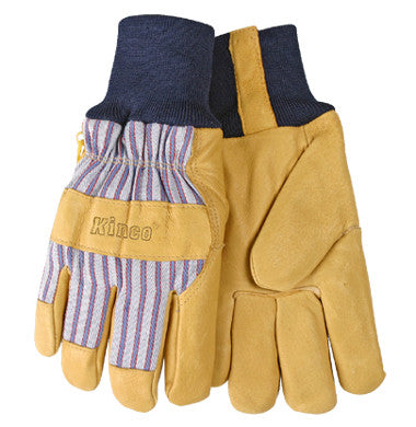 Gloves - Kinco Lined Grain Pigskin Leather Palm Gloves With Knit Wrist