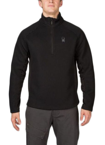 Men's Ski Sweaters - Spyder Pitch Half Zip Heavy Weight Core Sweater Volcano Black