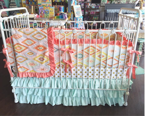 Coral Mint Gold White Aztec Crib Bedding Baby Girl