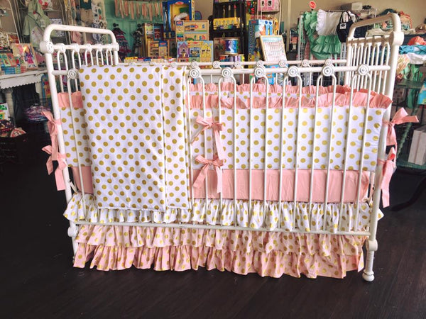 Pink & Gold Polka Dot Crib Bedding