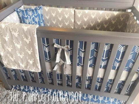 Navy Arrow Gray Deer Custom Crib Bedding