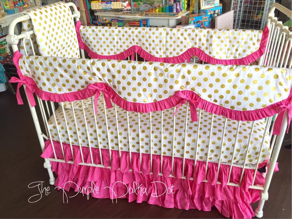 Scalloped Rail Cover Bumperless Hot Pink Gold Dot Crib Bedding Baby Girl Crib Nursery Bedding