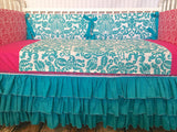 *SALE* Pink Turquoise Teal Damask Custom Crib Bedding