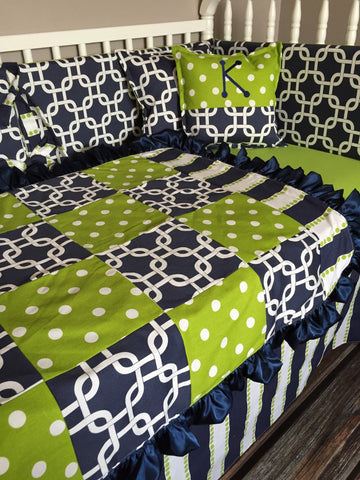 Navy and Green Polka Dot Geometric Modern Stripe Custom Crib Bedding