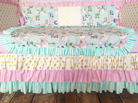 Aqua Mint, Pink and Gold Dot Stripe Vintage Carousel Crib Bedding