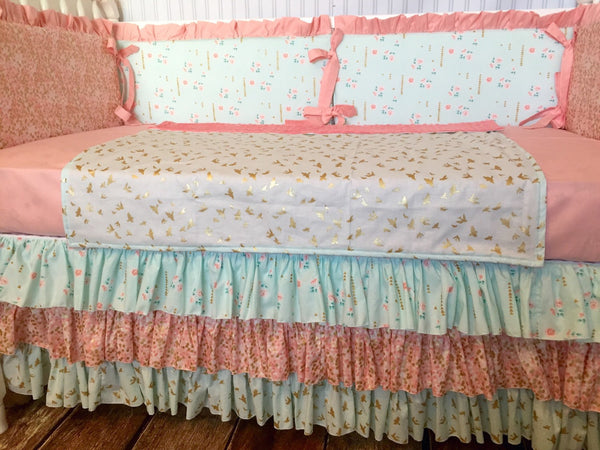 Brambleberry Gold, Coral Blush & Aqua Custom Crib Bedding
