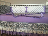 Purple Gray Grey Polka Dot Quatrefoil Custom Crib Bedding