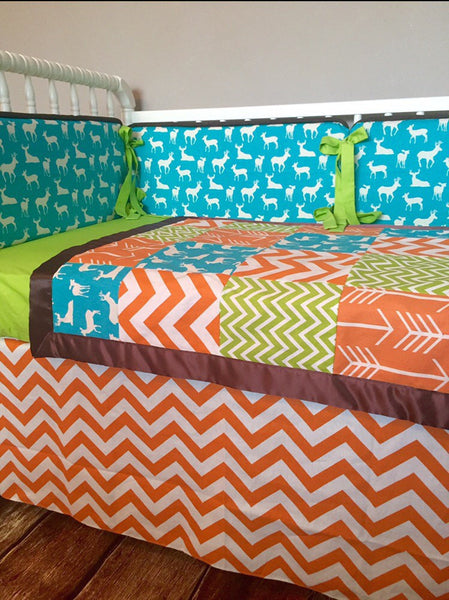 Turquoise Orange Brown Green Chevron Deer Arrow Custom Crib Bedding