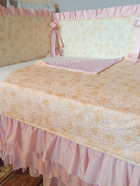 Blush Gold Floral Custom Crib Bedding Ruffled Crib Skirt