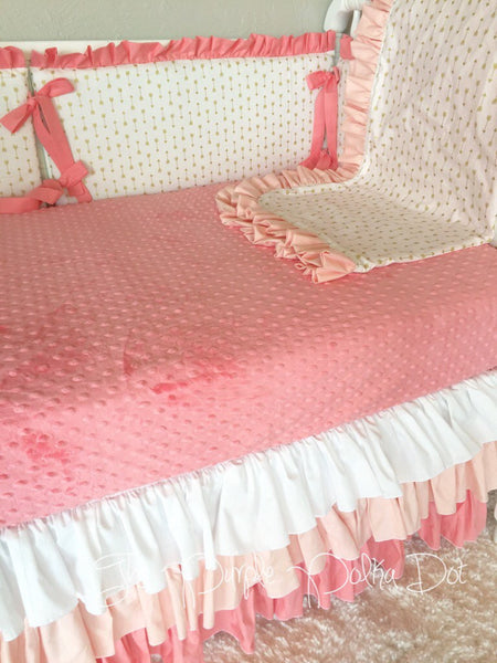 Pink and Gold Arrow Custom Crib Bedding Ombre Crib Skirt