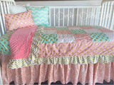 Pink Coral Mint Gold Toddler Bedding Quilt