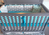 Teal Turquoise Gray Chevron Deer Head Silhouette Custom Crib Bedding