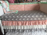 Mint, Pink Gray Grey And Gold Deer Arrow Girl Polka Dot Custom Crib Bedding Ruffled Crib Skirt