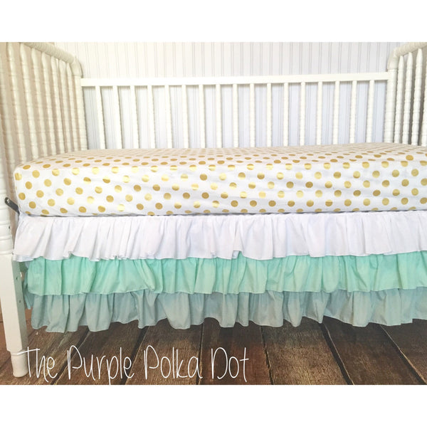 Mint Ombre Triple Ruffle Crib Skirt
